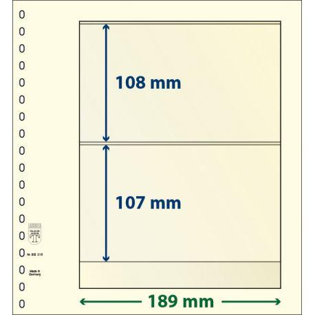 Paquetes de 10 hojas neutras Lindner-T 2 bandas 107 mm. y 108 mm.