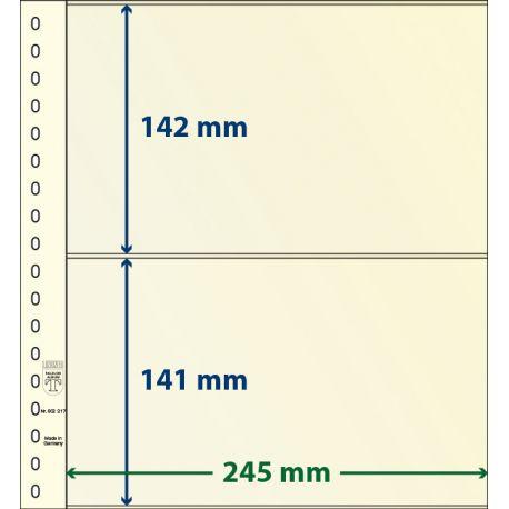 Paquet de 10 feuilles neutres Lindner-T 2 bandes 141 mm et 142 mm
