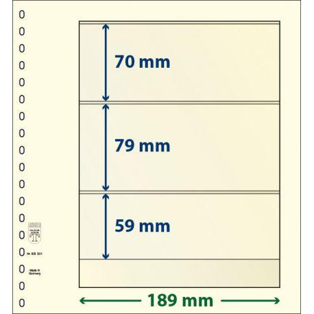 Paquetes de 10 hojas neutras Lindner-T 3 bandas 59 mm., 79 mm. y 70 mm.