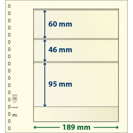 Neutral packages of 10 sheets Lindner-T 3 bands 95 mm, 46 mm and 60 mm