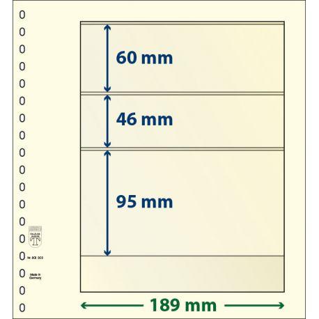 Paquet de 10 feuilles neutres Lindner-T 3 bandes 95 mm,46 mm et 60 mm