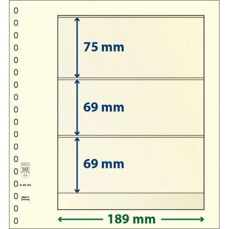 Paquet de 10 feuilles neutres Lindner-T 3 bandes 69 mm,69 mm et 75 mm