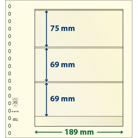Paquetes de 10 hojas neutras Lindner-T 3 bandas 69 mm., 69 mm. y 75 mm.
