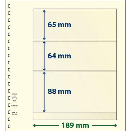 Paquet de 10 feuilles neutres Lindner-T 3 bandes 88 mm,64 mm et 65 mm