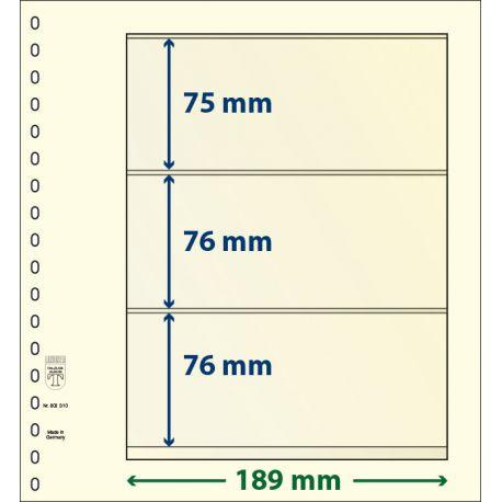 Paquet de 10 feuilles neutres Lindner-T 3 bandes 76 mm,76 mm et 75 mm