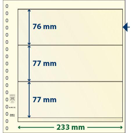 Paquet de 10 feuilles neutres Lindner-T 3 bandes 77 mm,77 mm et 76 mm