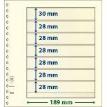 Paquet de 10 feuilles neutres Lindner-T 7 bandes dont 6 à 28 mm et 1 à 30 mm