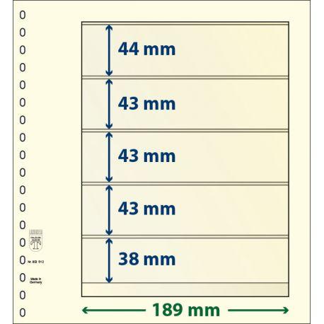 Paquet de 10 feuilles neutres Lindner-T 5 bandes 38 mm,43 mm,43 mm,43 mm et 44 mm