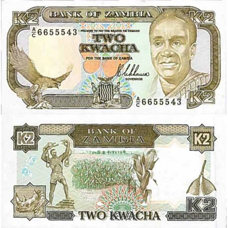 Billet de banque collection Zambie - PK N° 29 - 2 Kwacha