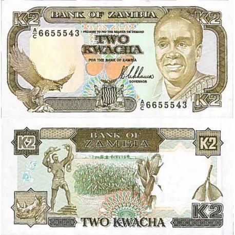 Billete de banco colección Zambia - PK N° 29 - 2 Kwacha