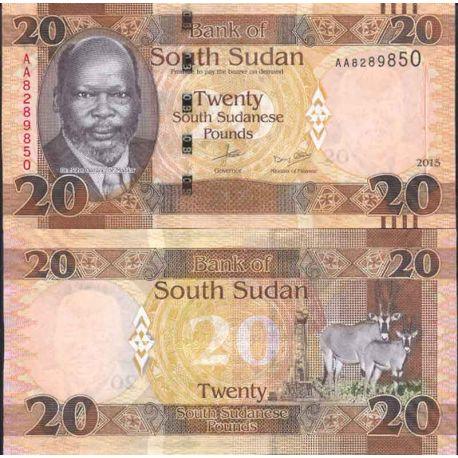 Billets de collection Billet de banque collection Soudan du Sud - PK N° 13 - 20 Pounds Billets du Sud-Soudan 8,00 €