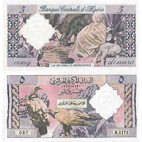 Billets de collection Billet de banque collection Algerie - PK N° 122 - 5 Dinars Billets d'Algerie 300,00 €