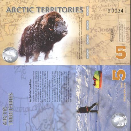 Billet de banque collection Arctique / Antarctique - PK N° 907 - 5 Dollars