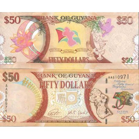 Billet de banque collection Guyana - PK N° 999 - 50 Dollars