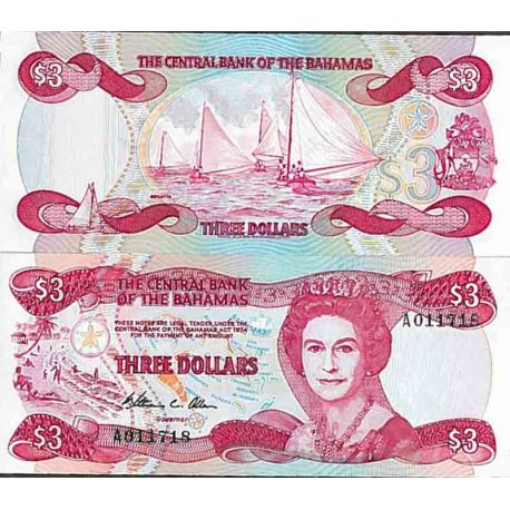 Banconote collezione Bahamas - PK N° 44 - 3 dollari