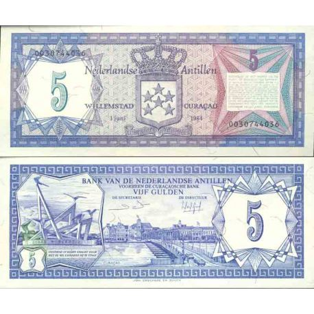 Billet de banque collection Antilles Néerlandaises - PK N° 15 - 5 Gulden