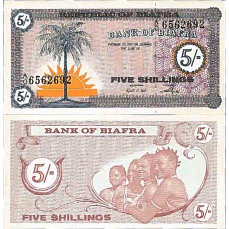 Billete de banco colección Biafra - PK N° 1 - 5 Chelín