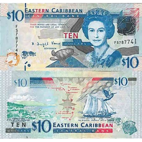 Banknote collection the Caribbean states of the east - Pick N° 52 - 10 Dollars (Anguil)