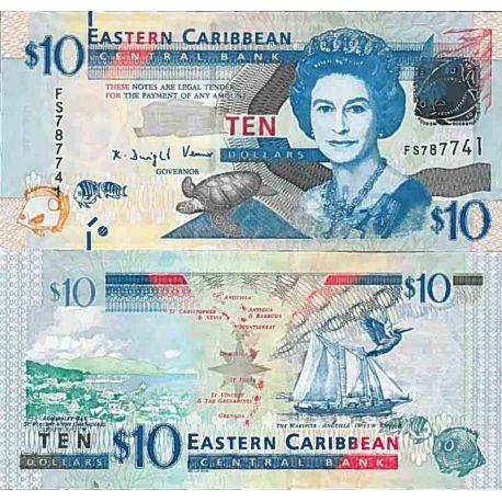 Billete de banco colección Caribe Estados del este - PK N° 52 - 10 Dólares (Anguil)
