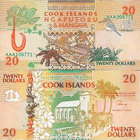 Banknote Sammlung die Cook Inseln - PK Nr. 9 - 20 Dollar