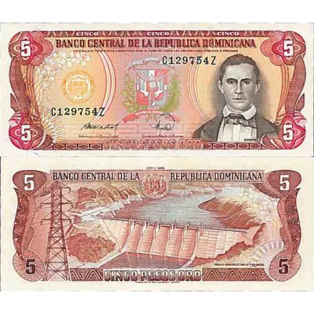 Banknote Dominican collection Sated. - Pick N° 118 - 5 Pesos
