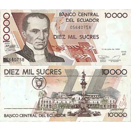 Billet de banque collection Equateur - PK N° 127 - 10000 Sucres