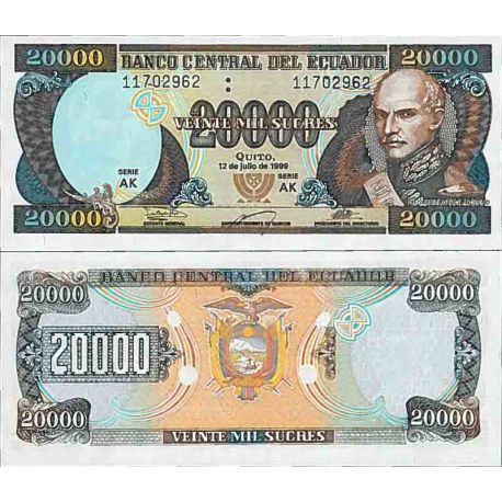 Billet de banque collection Equateur - PK N° 129 - 20000 Sucres
