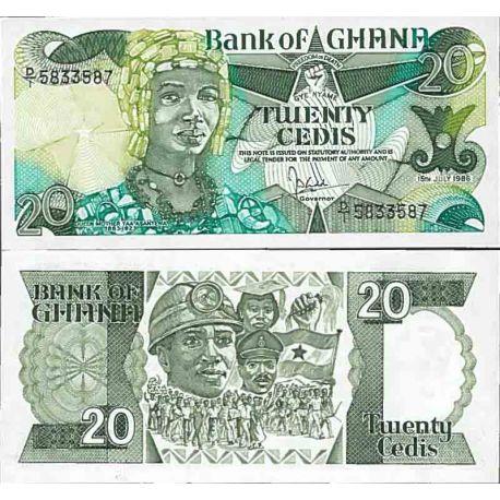 Billets de collection Billet de banque collection Ghana - PK N° 24 - 20 Cedis Billets du Ghana 28,00 €