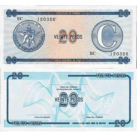 Billets de collection Billet de banque collection Cuba - PK N° 23FX - 20 Pesos Billets de Cuba 2,00 €