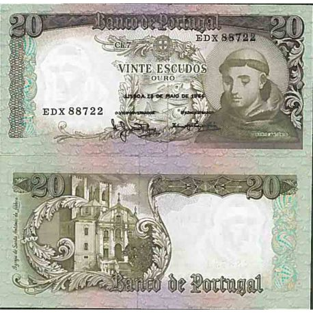 Billet de banque collection Portugal - PK N° 167 - 20 Escudos
