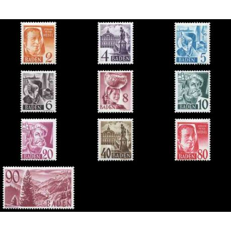 Francobollo collezione Baden N° Yvert e Tellier 28/37 nove con cerniera