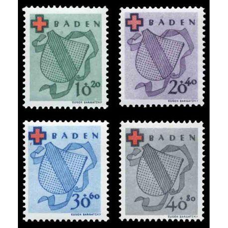 Francobollo collezione Baden N° Yvert e Tellier 38/41 nove con cerniera