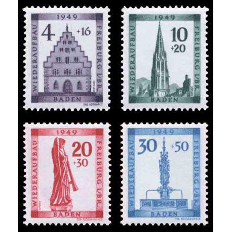 Francobollo collezione Baden N° Yvert e Tellier 42/45 nove con cerniera