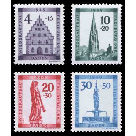 Timbre collection Bade N° Yvert et Tellier 42/45 Neuf avec charnière