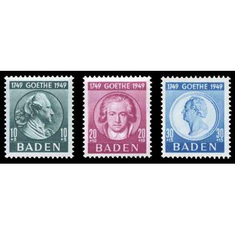 Francobollo collezione Baden N° Yvert e Tellier 48/50 nove senza cerniera