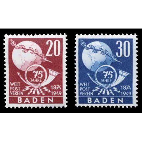 Francobollo collezione Baden N° Yvert e Tellier 56/57 nove senza cerniera
