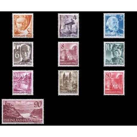 Francobollo collezione Renania N° Yvert e Tellier 30/38 nove con cerniera