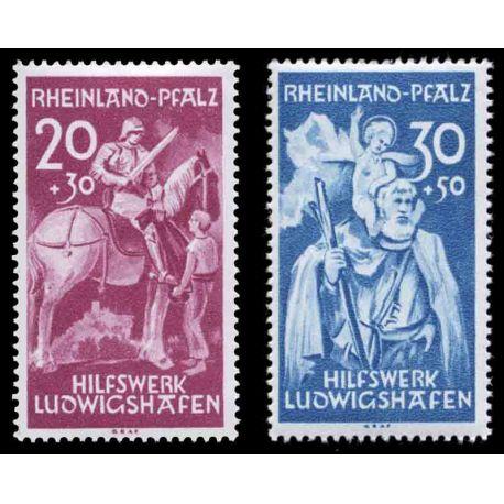 Francobollo collezione Renania N° Yvert e Tellier 39/40 nove senza cerniera