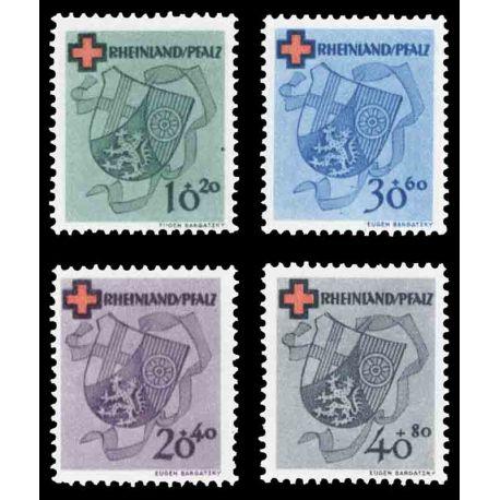 Francobollo collezione Renania N° Yvert e Tellier 41/44 nove senza cerniera