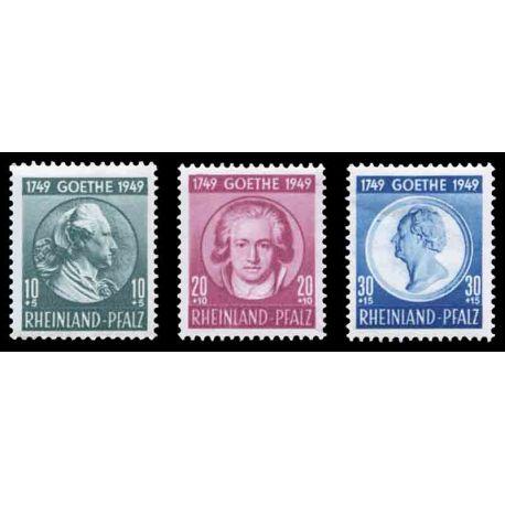 Francobollo collezione Renania N° Yvert e Tellier 45/47 nove senza cerniera
