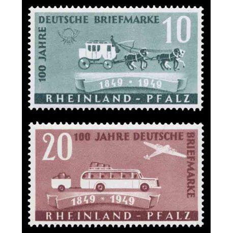 Francobollo collezione Renania N° Yvert e Tellier 48/49 nove senza cerniera
