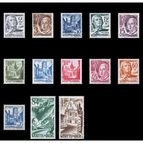 Francobollo collezione Wurtemberg N° Yvert e Tellier 1/13 nove senza cerniera