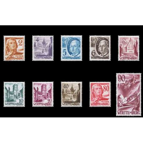 Timbre collection Wurtemberg N° Yvert et Tellier 28/37 Neuf avec charnière