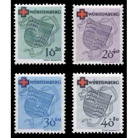Francobollo collezione Wurtemberg N° Yvert e Tellier 38/41 nove con cerniera