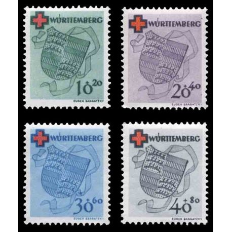 Timbre collection Wurtemberg N° Yvert et Tellier 38/41 Neuf avec charnière
