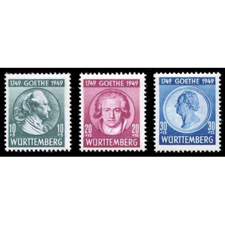 Francobollo collezione Wurtemberg N° Yvert e Tellier 46/48 nove con cerniera