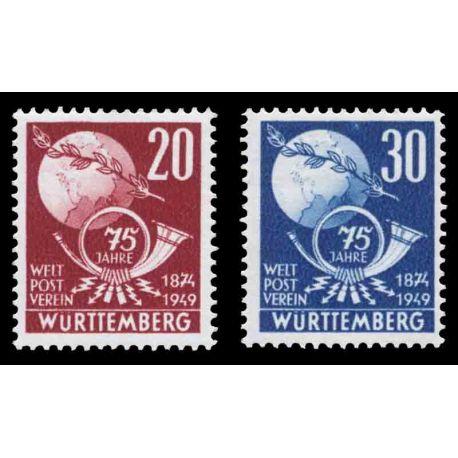 Francobollo collezione Wurtemberg N° Yvert e Tellier 51/52 nove con cerniera