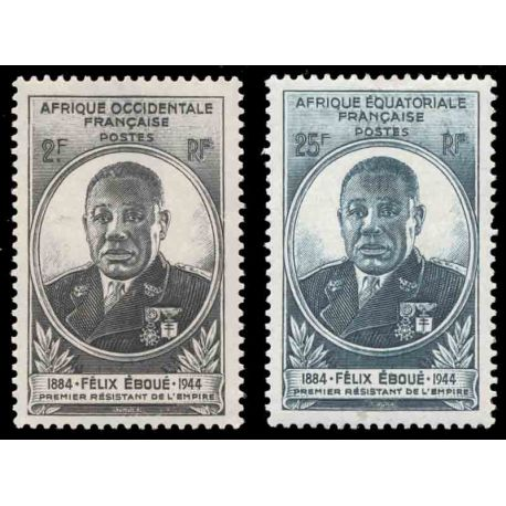 Timbre collection AEF N° Yvert et Tellier 206/207 Neuf sans charnière