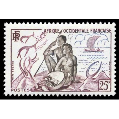 Timbre collection AOF N° Yvert et Tellier 49 Neuf sans charnière