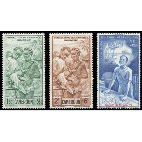 Francobollo collezione Camerun N° Yvert e Tellier PA 19/21 nove senza cerniera